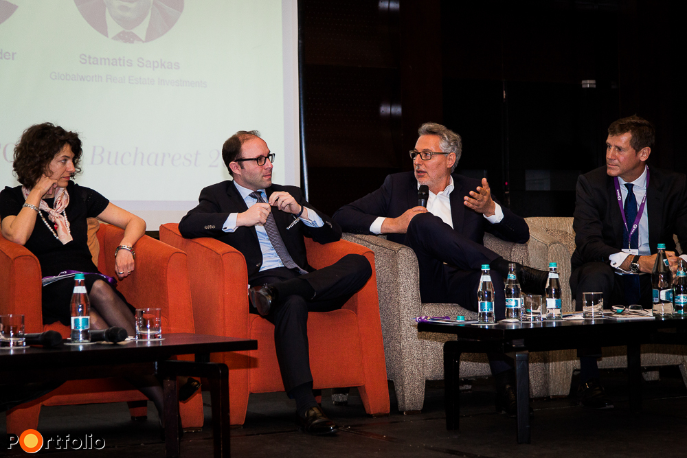 Panel discussion: Senior developers, investors. Conversation participants: Ana Dumitrache (Country Manager, CTP), Stamatis Sapkas (Deputy CIO, Globalworth Real Estate Investments), David Hay (CEO, AFI Europe Romania) and the moderator, Robert Neale FRICS (CEO, Portland Trust)